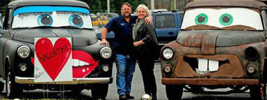 Mark & Pam with funny cars